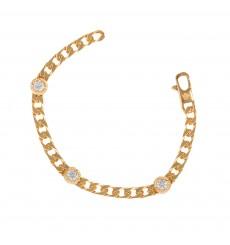 Pulsera Plata bañada en oro con chatones La Petra