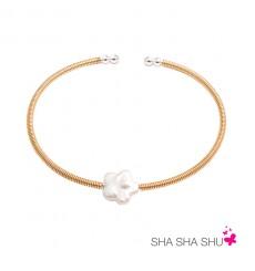 Pulsera de plata con perla de flor Petrai