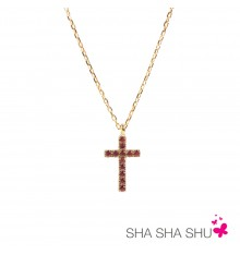 Colgante oro Cruz La Petra con piedras de color rojo