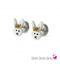Pendientes de plata conejo blanco colección Encantada  La Petra