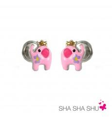 Pendientes de plata elefante rosa colección Encantada  La Petra