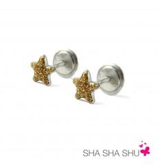 Pendientes de plata estrella dorada colección Encantada  La Petra