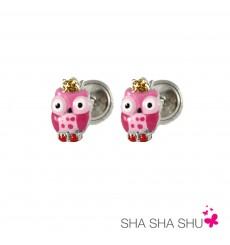 Pendientes de plata búho rosa colección Encantada  La Petra