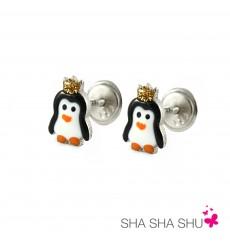 Pendientes de plata pingüino colección Encantada  La Petra