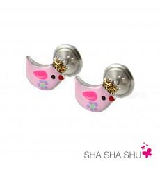 Pendientes de plata pájaro rosa colección Encantada  La Petra
