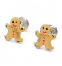 Pendientes galleta gingerman  de plata La Petra