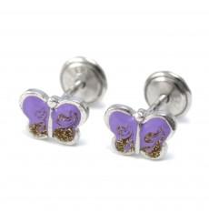 Pendientes mariposas lilas de plata La Petra