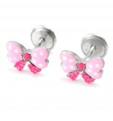 Pendientes mariposas rosas de plata La Petra