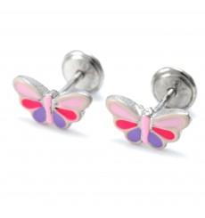 Pendientes mariposas rosas y lila de plata La Petra