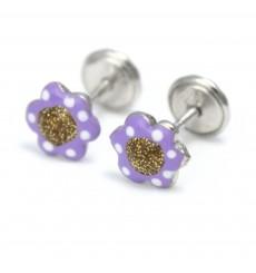 Pendientes flores lilas de plata La Petra