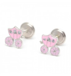 Pendientes carrozas rosas de plata colección Encantada  La Petra