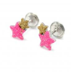 Pendientes estrellas fucsias de plata colección Encantada  La Petra