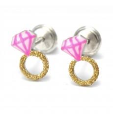 Pendientes anillos rosas de plata colección Encantada  La Petra
