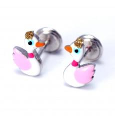 Pendientes patos rosas de plata colección Encantada  La Petra