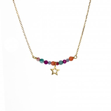 Collar de oro y estrella y piedras colores La Petra