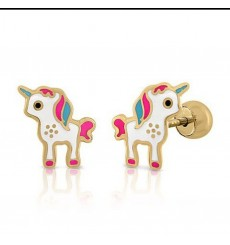 Pendiente de oro unicornios La Petra