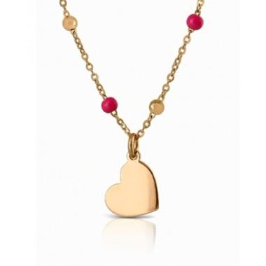 Collar de oro con mariposa de oro y bolitas de colores La Petra