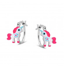 Pendientes aro unicornios de plata La Petra