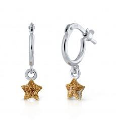 Pendientes aros de plata estrellas La Petra